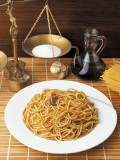 Close-Up of a Plate of Spaghetti with Anchovy Sauce Photographic Print by M. Sarcina
