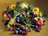 High Angle View of Fruits and Vegetables Photographic Print by P. Martini