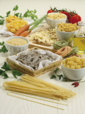 Close-Up of Different Types of Pasta in Bowls Photographic Print