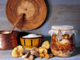 Close-Up of Mushrooms in a Jar with a Bowl and a Casserole Photographic Print by N. Chasseriau