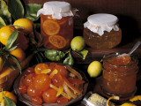 Close-Up of Preserved Citrus Fruit in Jars Photographic Print by N. Chasseriau
