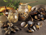 Close-Up of Jars of Mussel with Seafood Photographic Print by P. Martini