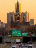 Church and Renaissance Center Aligned, Detroit Photographic Print by Geoffrey George