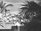 Couple Walking in Path Towards Beach, (B&amp;W), Elevated View Photographic Print by George Marks