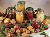 Close-Up of Fruits and Jars of Fruit Jam Photographic Print by P. Martini
