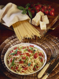High Angle View of Spaghetti with Tomatoes Photographic Print