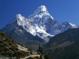 Nepal, Ama Dablam Trail, Temple in the Extreme Terrain of the Mountains Photographic Print by Jeff Foott