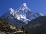 Detailed View of Ama Dablam Trail and Chorten Photographic Print by Jeff Foott