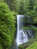 Water cascades down waterfall in spring, Oregon Photographic Print by Jeff Foott