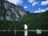 Yacht and Sailboat Sail Toward Chatterbox Falls Photographic Print by Jeff Foott