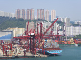 China, Hong Kong, Busy Harbor with Ships and Containers Photographic Print by Keren Su