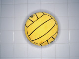 Water Polo Ball on Tile, Overhead View Photographic Print