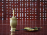 China, Beijing, Traditional Chinese Medicine Pharmacy, Scale and Mortar on the Counter Photographic Print by Keren Su