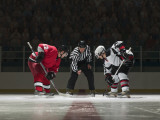 Ice Hockey Players Facing Off Photographic Print