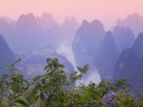 Mountains on the Li River at Sunrise, Yangshuo, China, Photographic Print