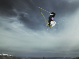 Skier Doing Freestyle Jump in Air Photographic Print
