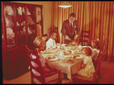 Family Sitting Down Thanksgiving Dinner Photographic Print by Lambert