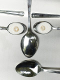 Spoon Man Face Made of Spoons, Milk, Cereal Photographic Print