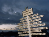A Direction Sign in Lapland, Sweden Photographic Print
