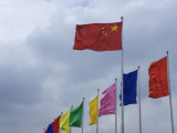 China, Shanghai, Chinese National Flag Photographic Print by Keren Su