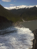 Alaska, Juneau, the Mendenhall Glacier Flows into Mendenhall Lake Photographic Print