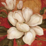 Magnolia on Red I Art by Pamela Gladding