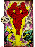 Marvel Comics Retro: Fantastic Four Comic Panel, Thing, Mr. Fantastic, Human Torch (aged) Stretched Canvas Print