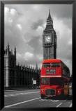 Roter Doppeldeckerbus in London Poster