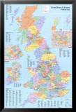 Carte administrative du Royaume-Uni Posters