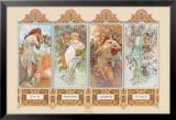 Die vier Jahreszeiten|The Four Seasons Kunstdruck von Alphonse Mucha
