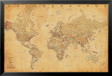 Mapa-múndi, vintage Posteres