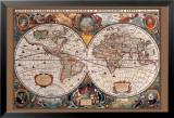 17. Jahrhundert, Welt Landkarte Foto