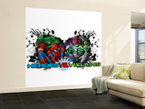 Marvel Heroes: Black Widow, Spider-Man, Hulk, Galactus, Lizard, Dr. Doom Wall Mural – Large