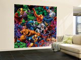Marvel Heroes: X-Men, Hulk, Spider-Man, Fantastic Four, Daredevil and More, Pattern Wall Mural  Large