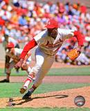 Bob Gibson 45 of the St. Louis Cardinals follows through on a pitch at Busch Stadium. Circa 1969. Photo