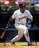 Tony Gwynn 19 of the San Diego Padres connects for a hit against the Chicago Cubs at Jack Murphy S Photo