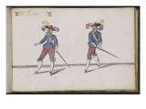 """Album ; Ballet du Chasteau de Bicêtre ; """"Entrée des Braves""""; deux figures Giclee Print by Daniel Rabel"""