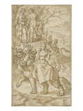 Angel Pointing to St. John the Prostitute of Babylon Giclée-Druck von Martin de Vos