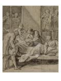 Convulsionnaires et miraculés de Saint-Médard : la demoiselle Hardoin, guérison Giclee Print by Jean Restout