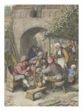 Une cour d'auberge Giclée-Druck von Adrien Van Ostade