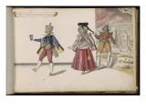 """Album ; Ballet du Chasteau de Bicêtre ; """"Entrée de l'hoste, de l'hostesse et de leur valet"""" Giclee Print by Daniel Rabel"""