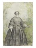 Femme vêtue d'une robe à crinoline grise, devant un bosquet Giclee Print by Georges Rouget