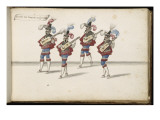 """Album ; Ballet de la Douairière de Billebahaut ; """"Entrées des Joueurs de guitare""""; quatre figures Giclee Print by Daniel Rabel"""