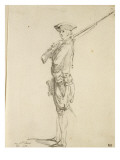 Album Dummy: an Infantry Soldier, Rifle on Shoulder Giclee Print by Augustin De Saint-aubin