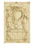 A Tomb in Which Two Naked Children Support a Shield Giclee Print by Alessandro Algardi