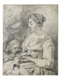 Une bohémienne avec son enfant Giclée-Druck von Cornelius de Visscher