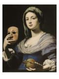 Allégorie de la Simulation : femme tenant un masque et une grenade Giclee Print by Lorenzo Lippi