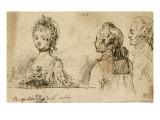 Album factice : Une femme et deux hommes, vus en buste Reproduction procédé giclée par Augustin De Saint-aubin