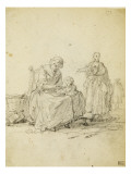 Album Dummy: Woman Sitting Giving Porridge to a Child Giclee Print by Augustin De Saint-aubin