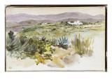 """Album d'Afrique du Nord & d'Espagne : paysage aux environs de Tanger,""""2 mars promenade avec M.Hay """" Reproduction procédé giclée par Eugene Delacroix"""